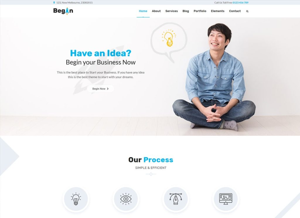 Begin Startup | Business, Startups WordPress Theme