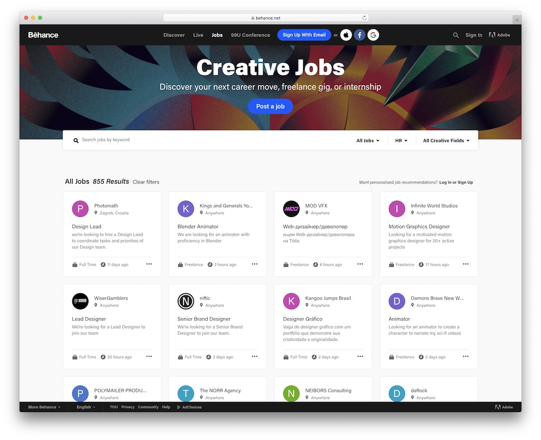 behance freelance marketplace