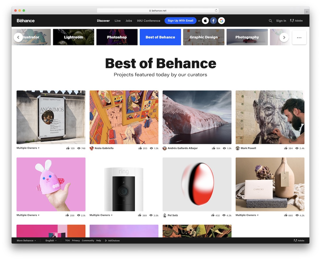 behance showcase and inspiraton web design
