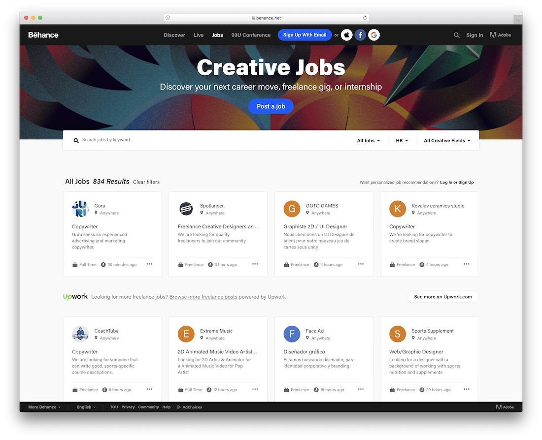 behance tech startup job board