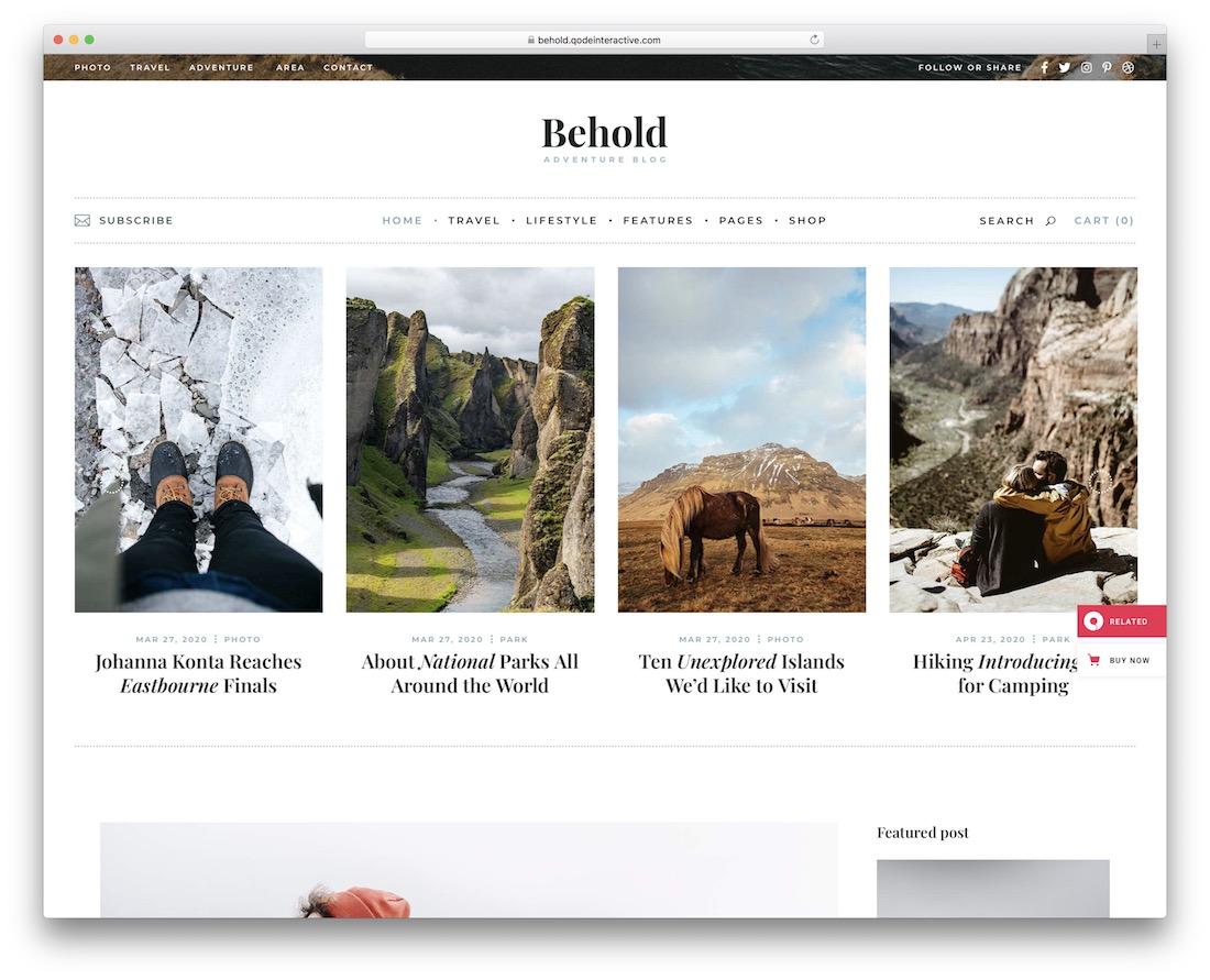 behold personal blog wordpress theme