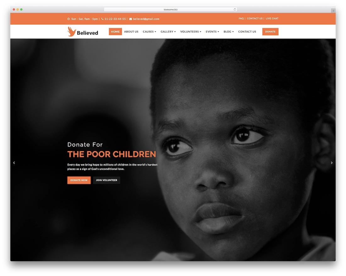 believed website template