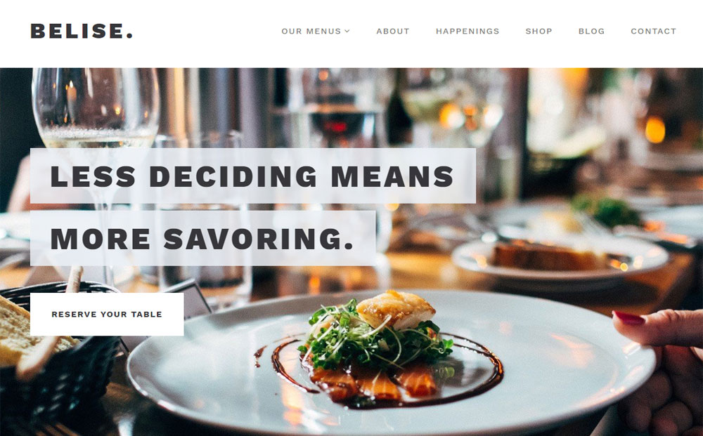 Belise Restaurant WordPress Theme