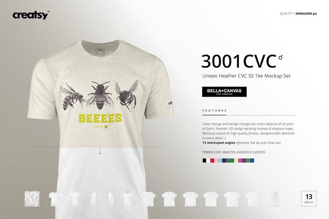 bella canvas 3001 cvc tee mockups