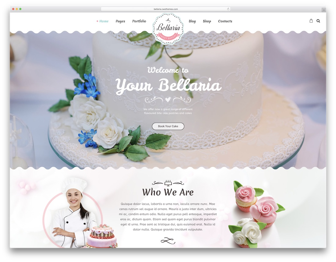 bellaria wordpress theme for bakeries