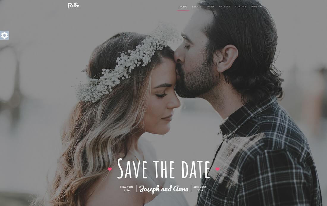 belle HTML wedding website template