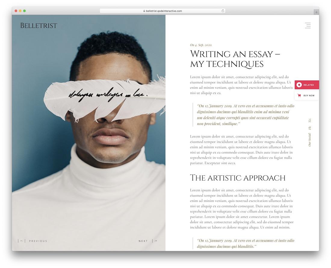 belletrist clean wordpress theme