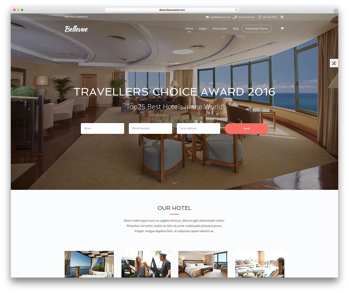 bellevue - réservation hôtel thème wordpress