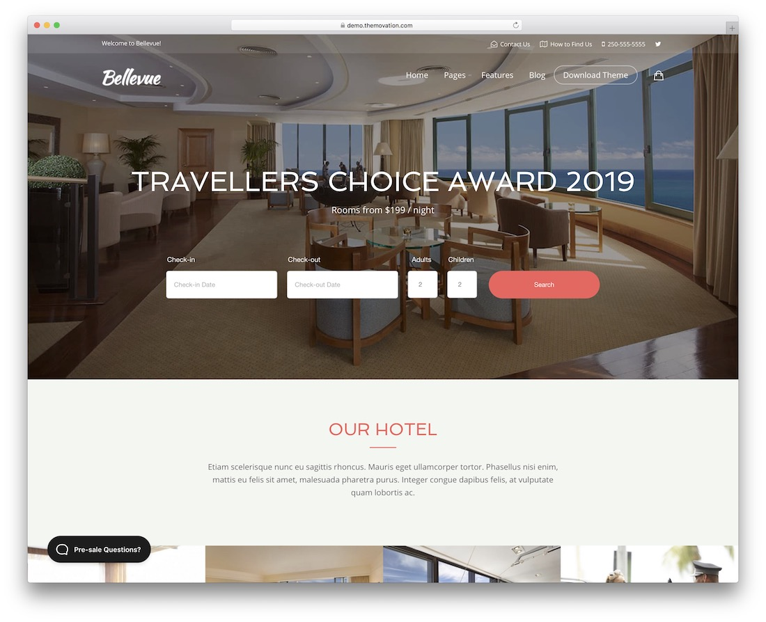 bellevue hotel website template