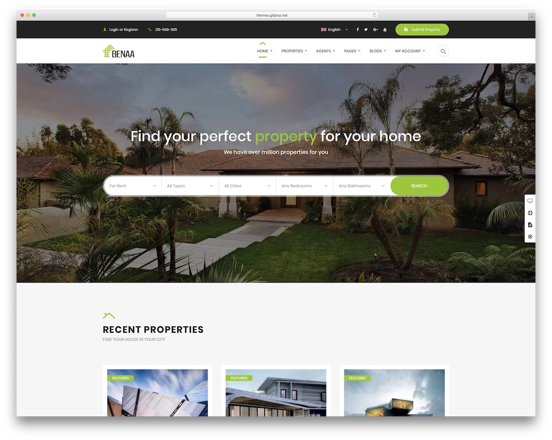benaa real estate wordpress theme