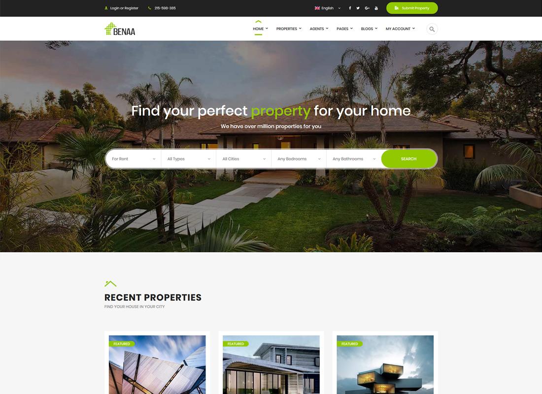 Benaa | Real Estate WordPress Theme