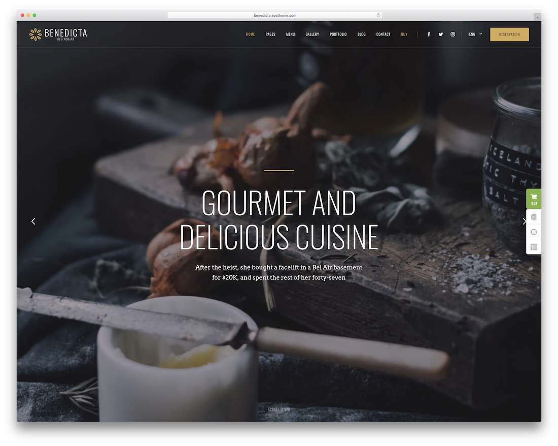 benedicta wordpress restaurant theme