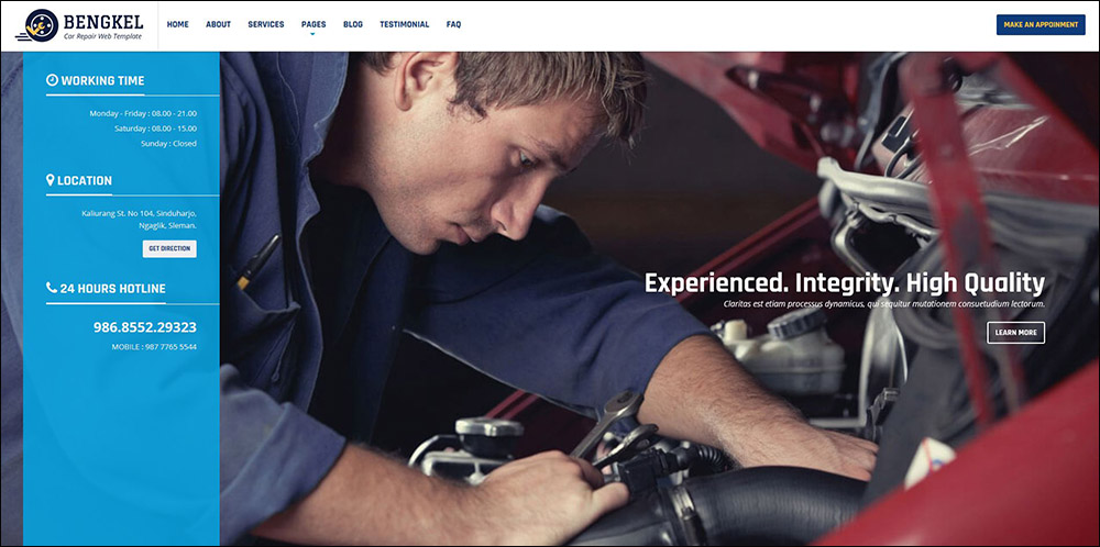 Bengkel - Modern Auto Car Repair Business Theme