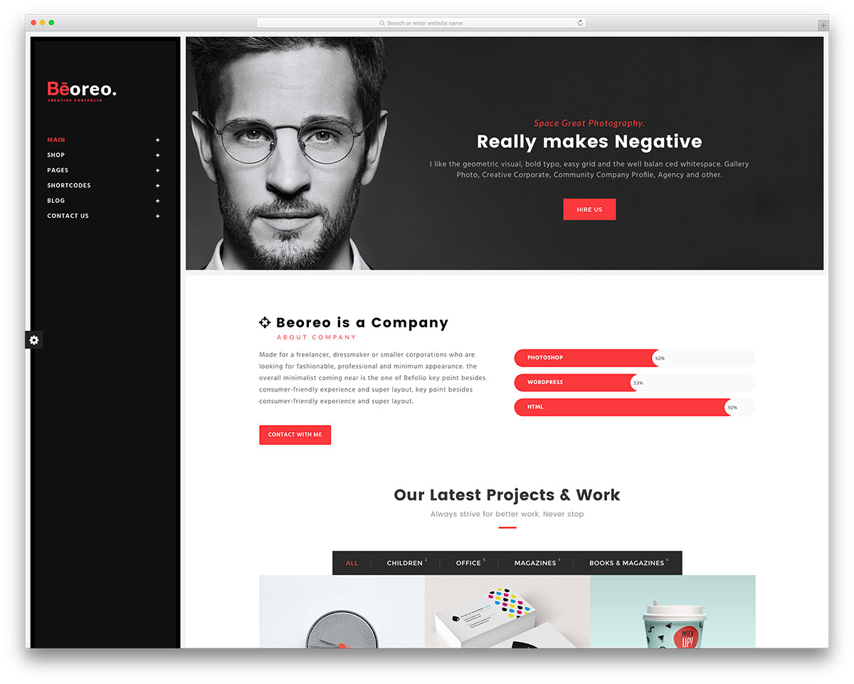 beoreo vcard wordpress website template - Wordpress Resume Template