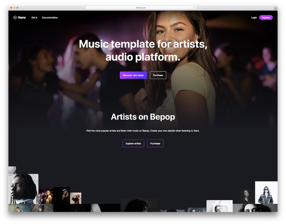 bepop music website template