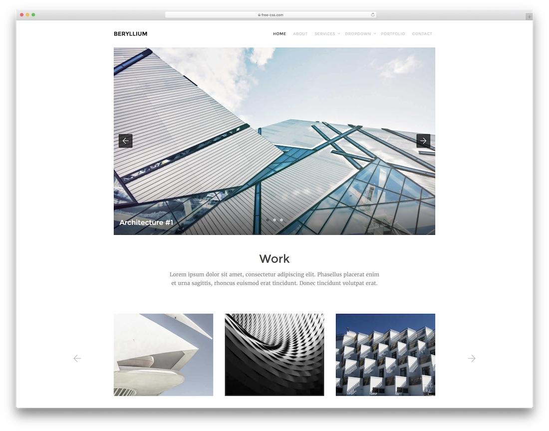 beryllium free html5 website template