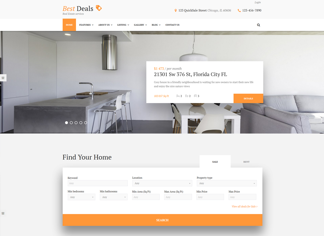 Best Deals   A Modern Property Sales & Rental WordPress Theme