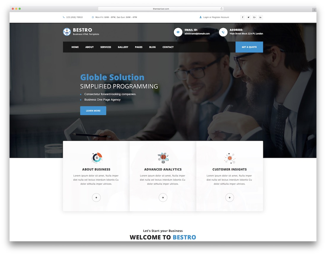 bestro consulting website template