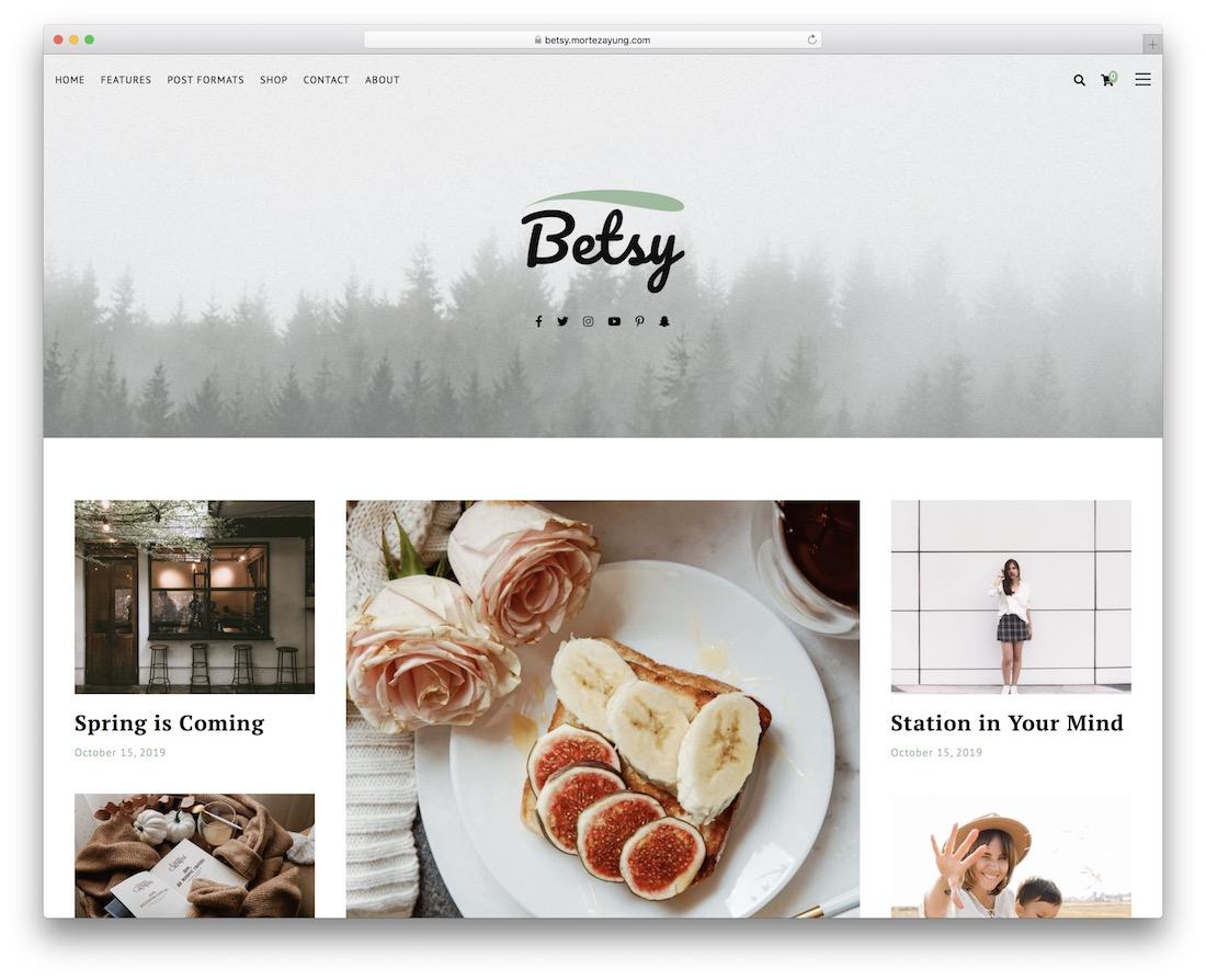 betsy wordpress food blog theme