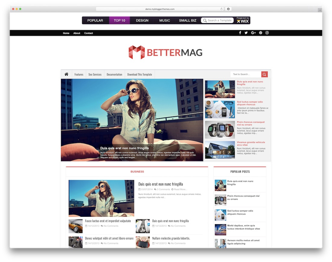 better mag free blogger template