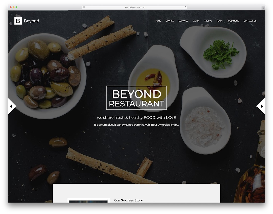 beyond catering website template