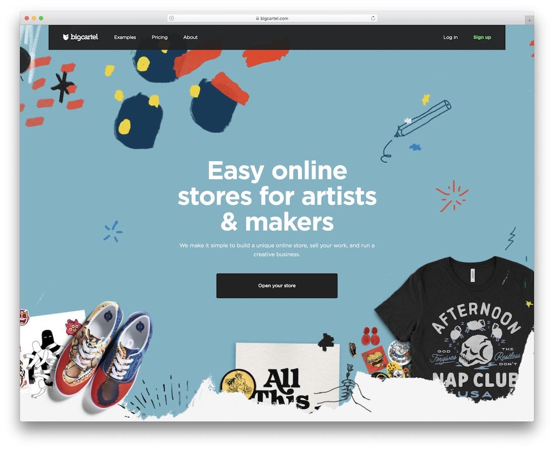 big cartel website builder for online clothing store