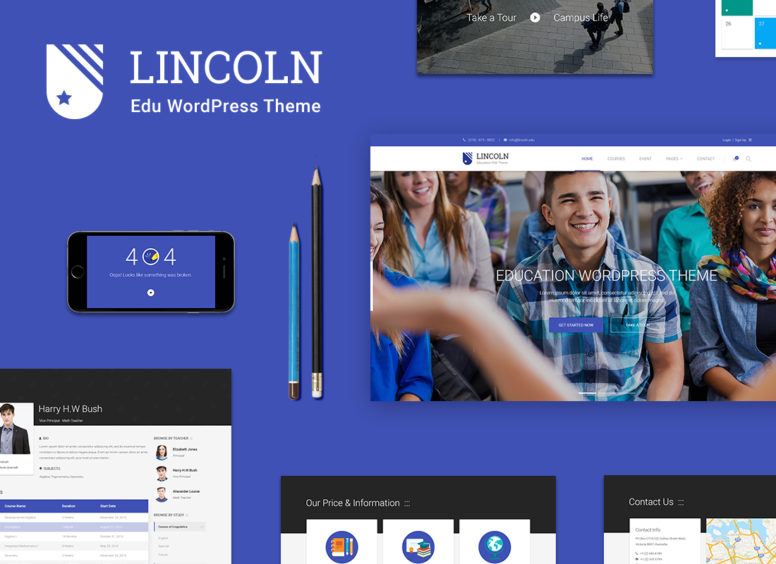 Lincoln – A Unique Material Design WordPress Theme For Education