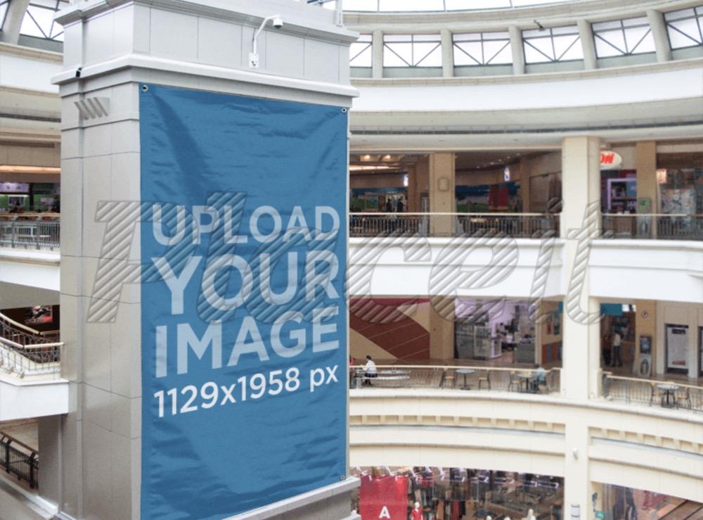 big vertical banner mockup at a shopping mall