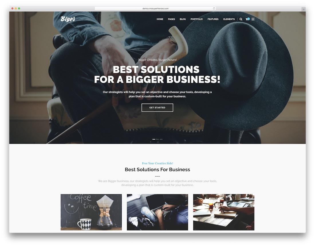 biger one page business theme