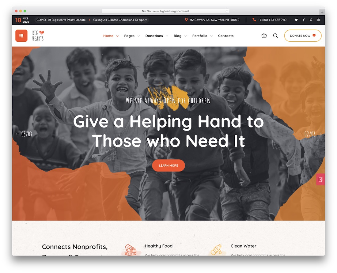 bighearts charity website template