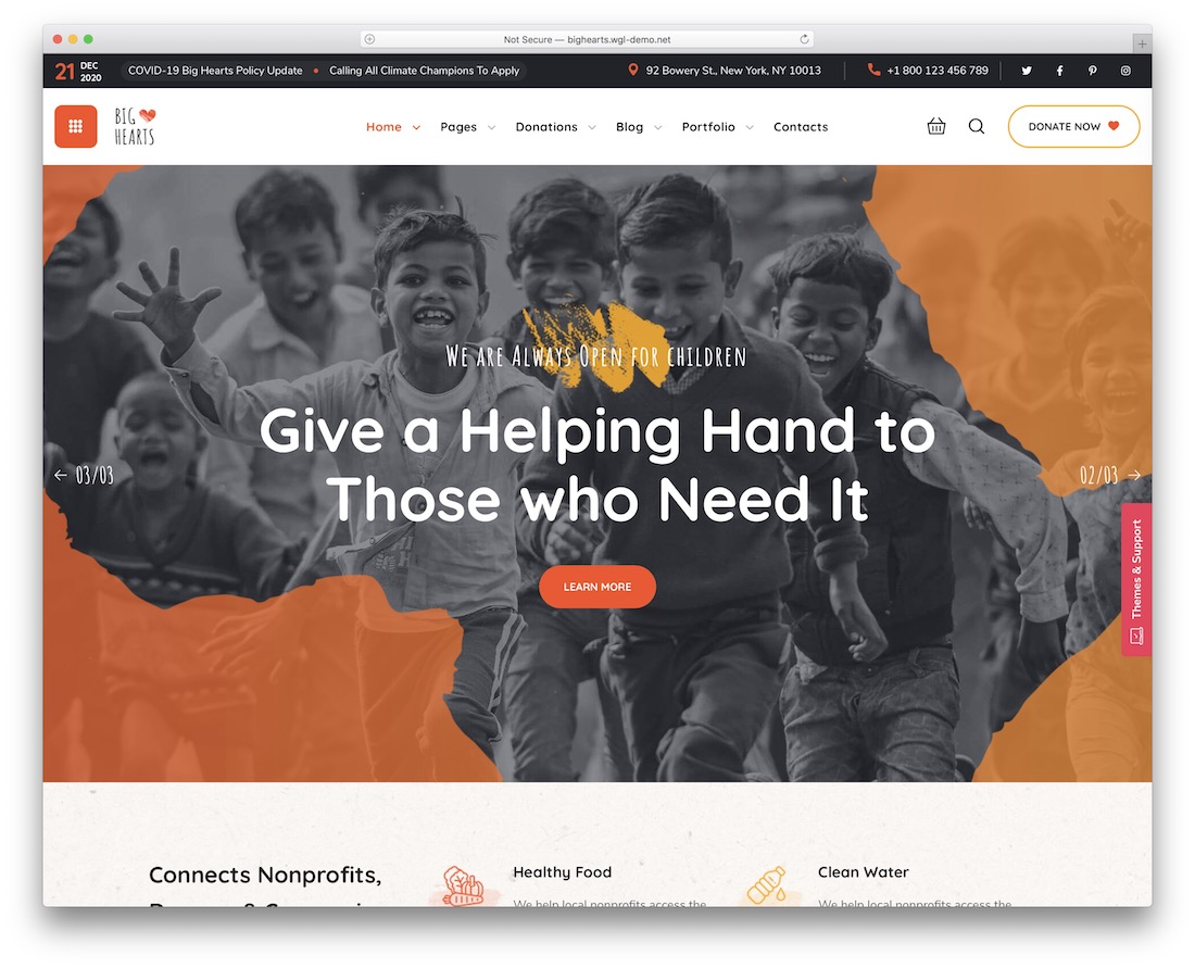 bighearts wordpress theme for non profit organizations