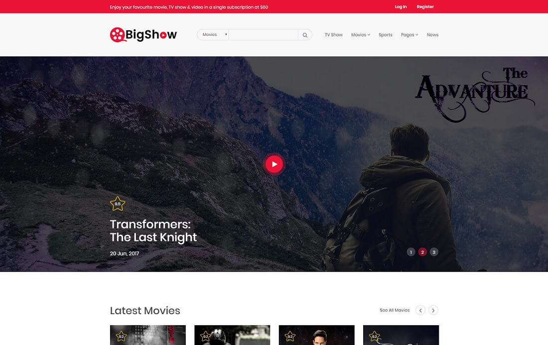 bigshow video website template
