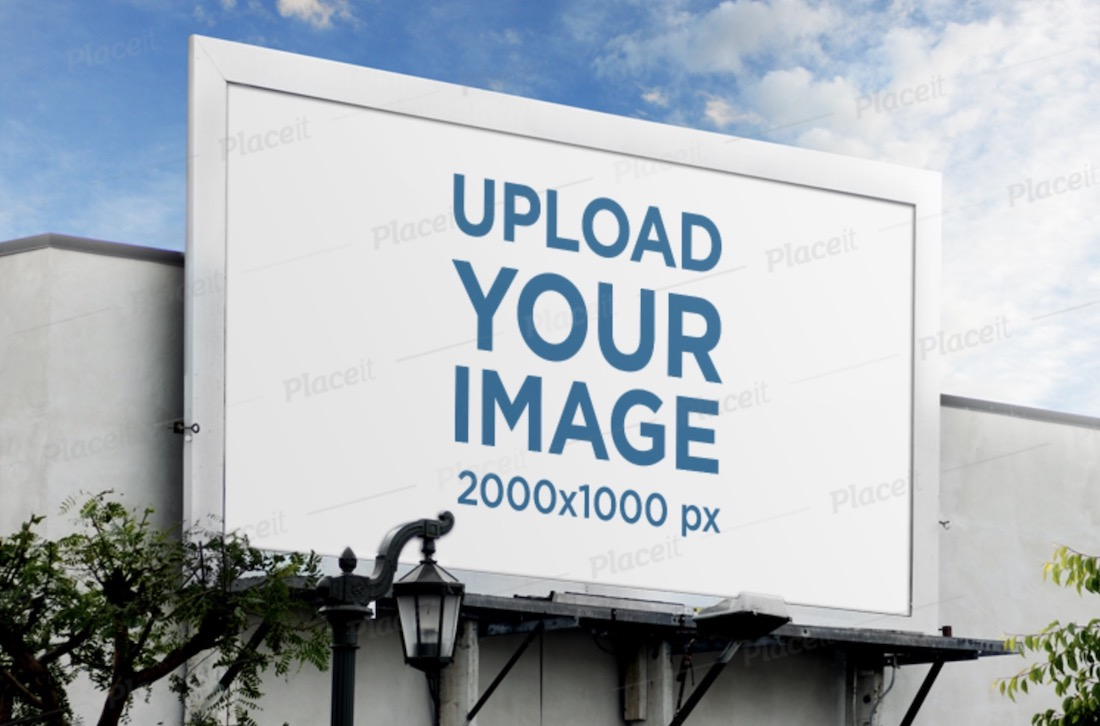 billboard mockup featuring blue sky and a street lamp
