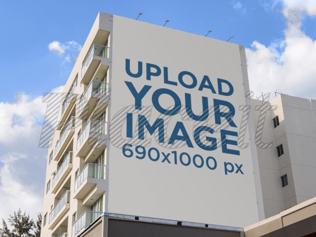 billboard mockup on the side of an apartment building