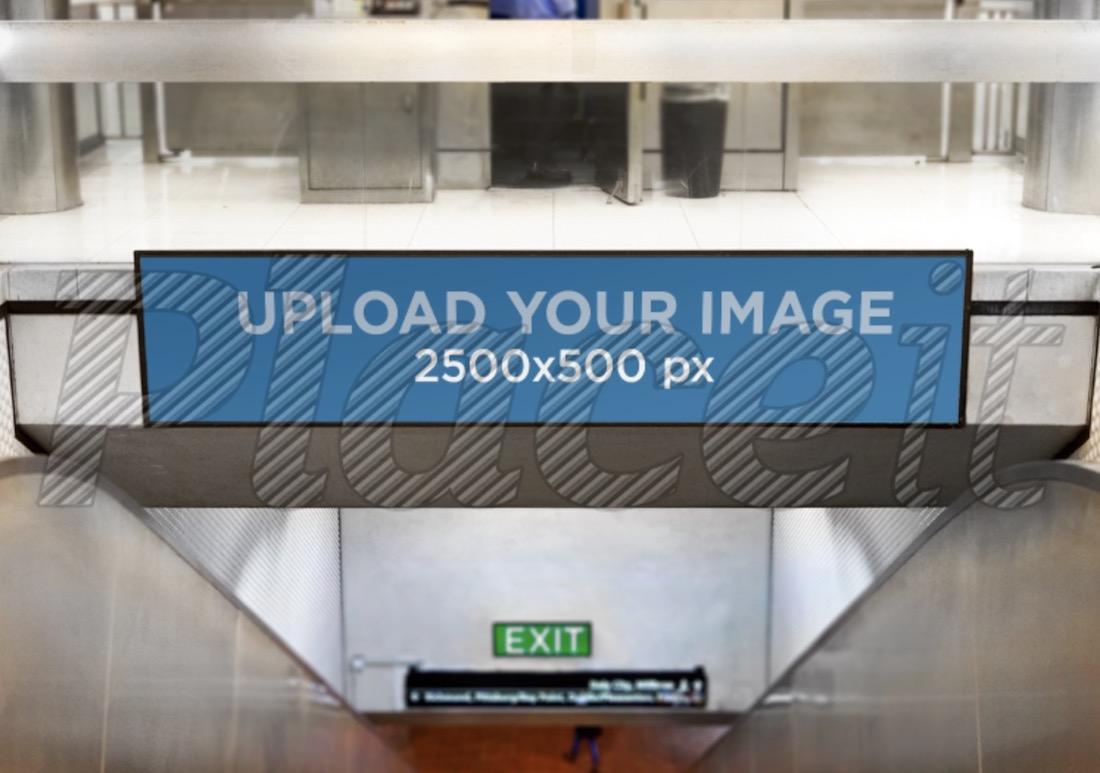 billboard mockup template over an escalator