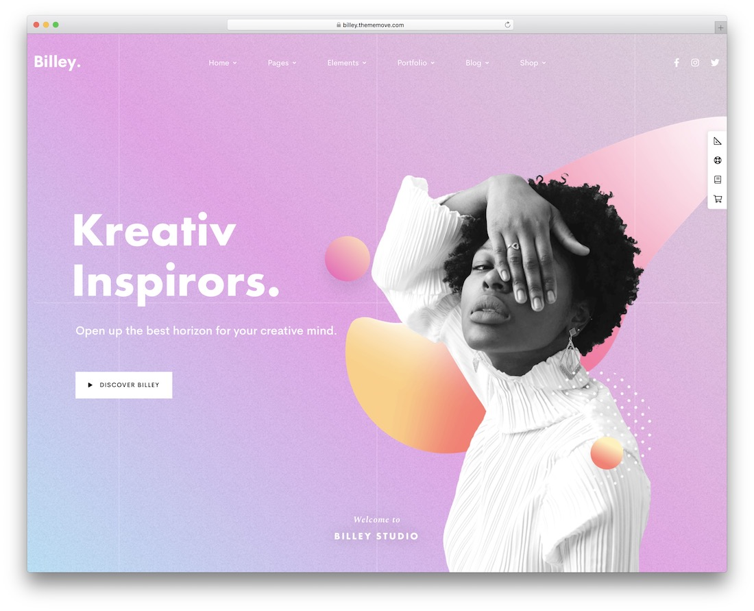 billey colorful wordpress theme