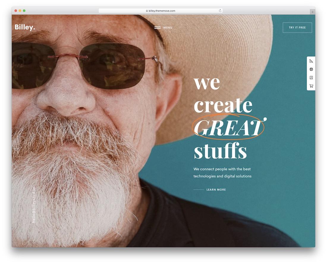 billey full-screen wordpress theme