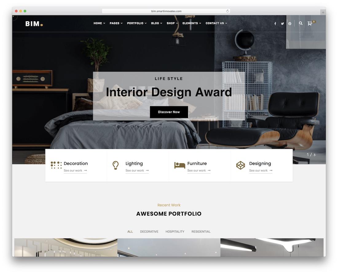 bim interior design wordpress theme