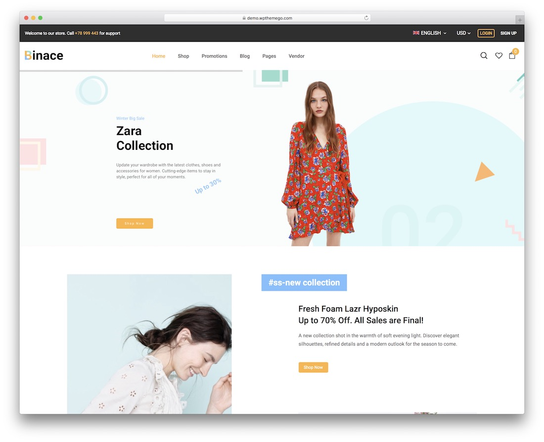 binace fashion ecommerce theme