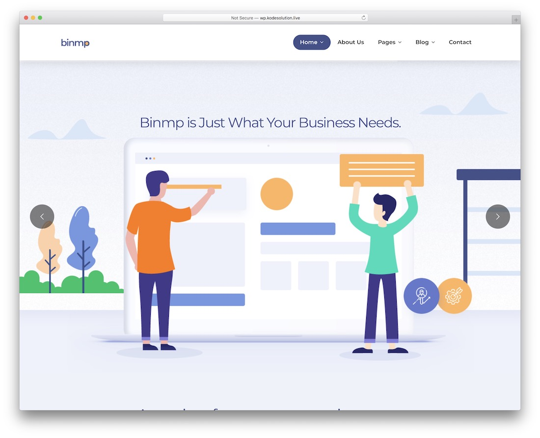 binmp landing page wordpress theme