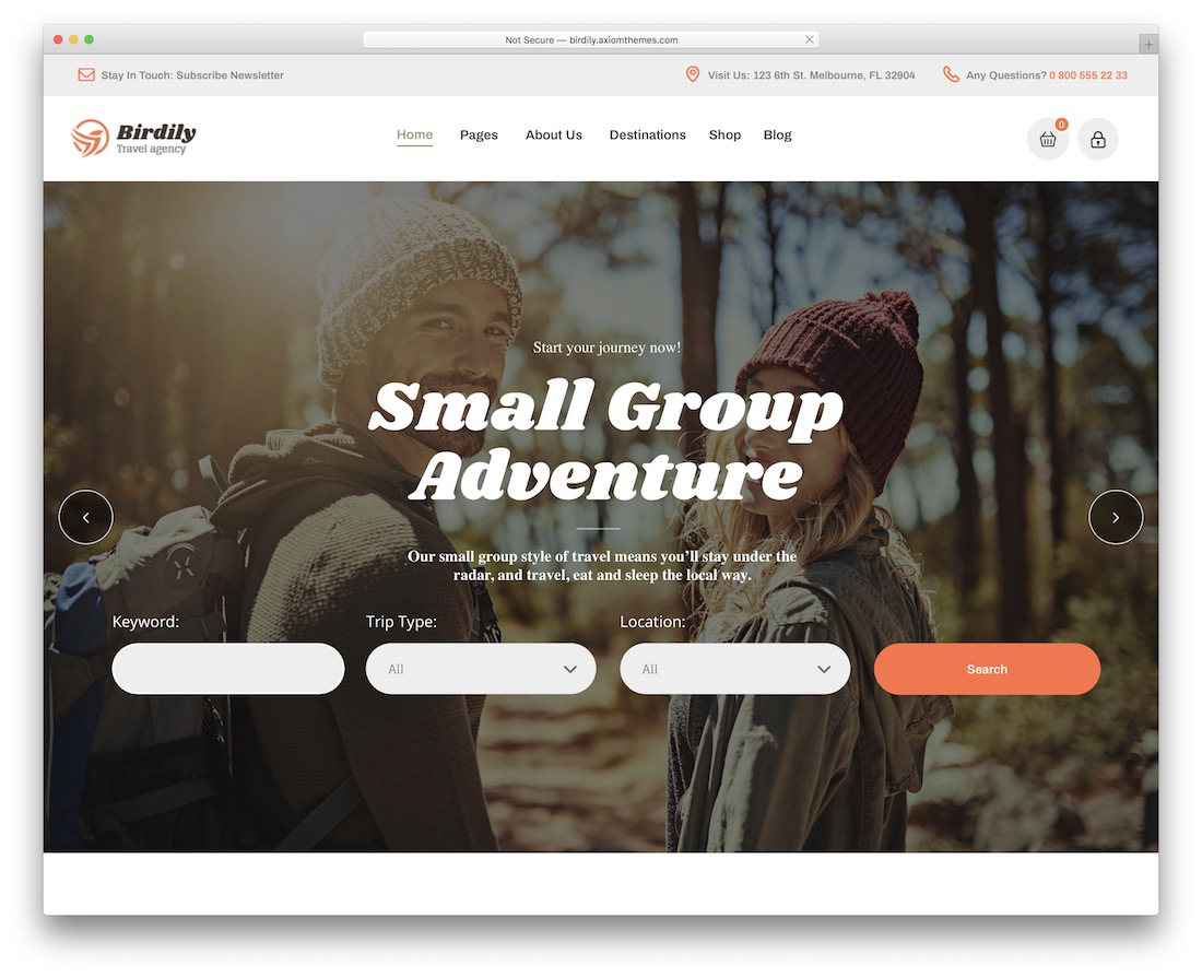 birdily travel agency wordpress theme