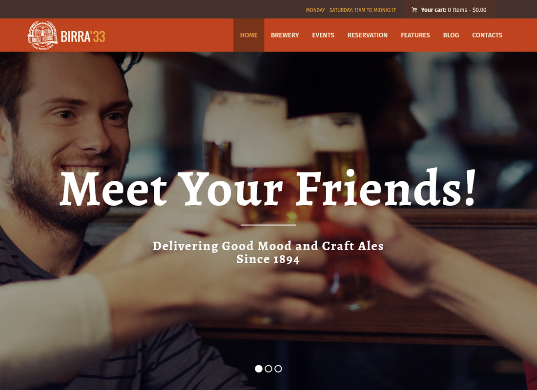 Birra33 - Brewery Brewpub and Craft Beer Shop WordPress Theme