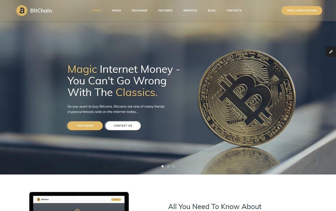 bitchain cryptocurrency website template