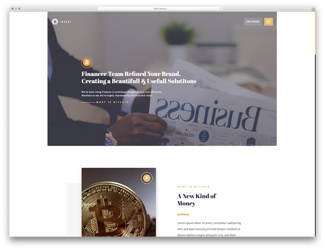 bitinvest adobe muse landing page template