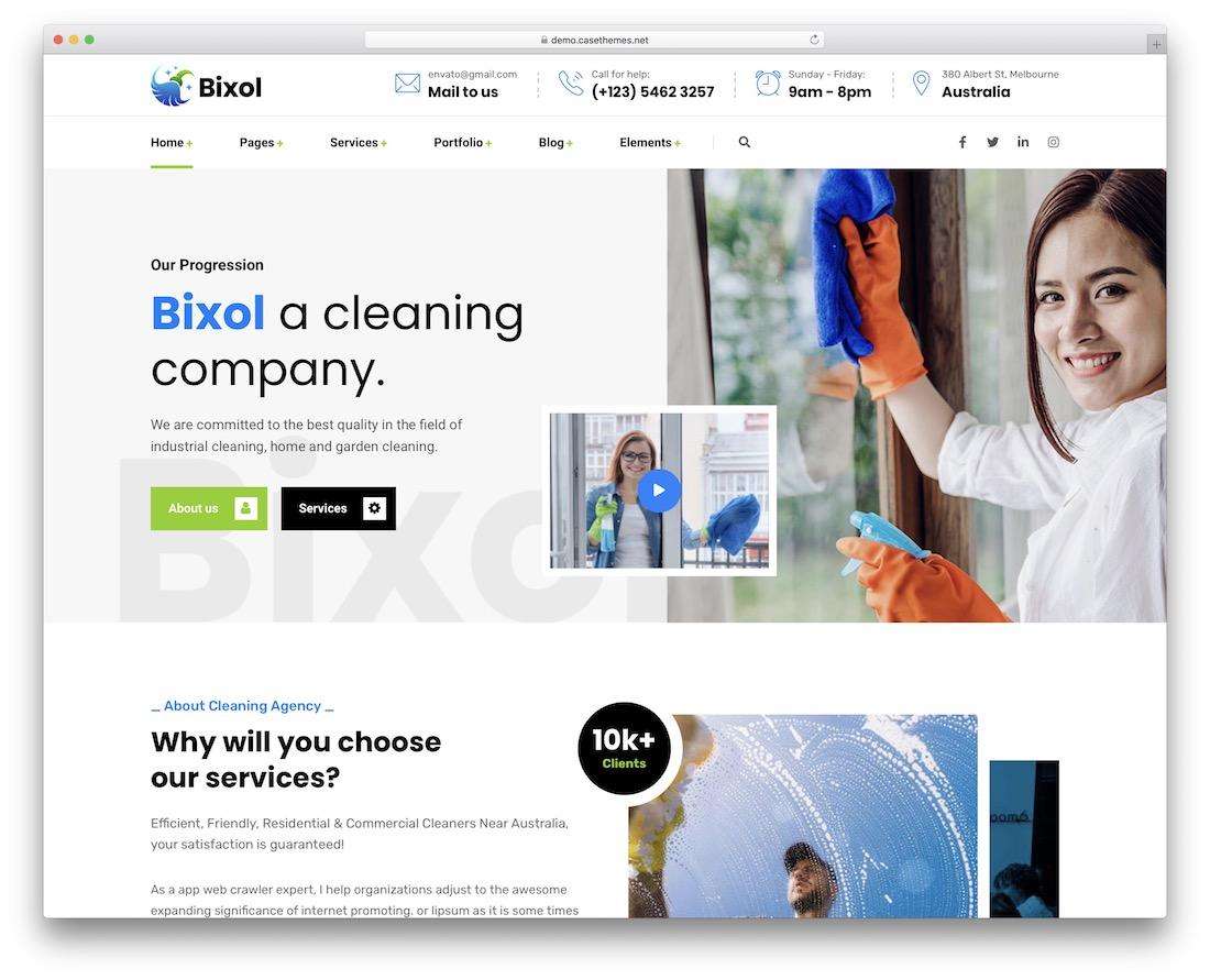 bixol cleaning company theme