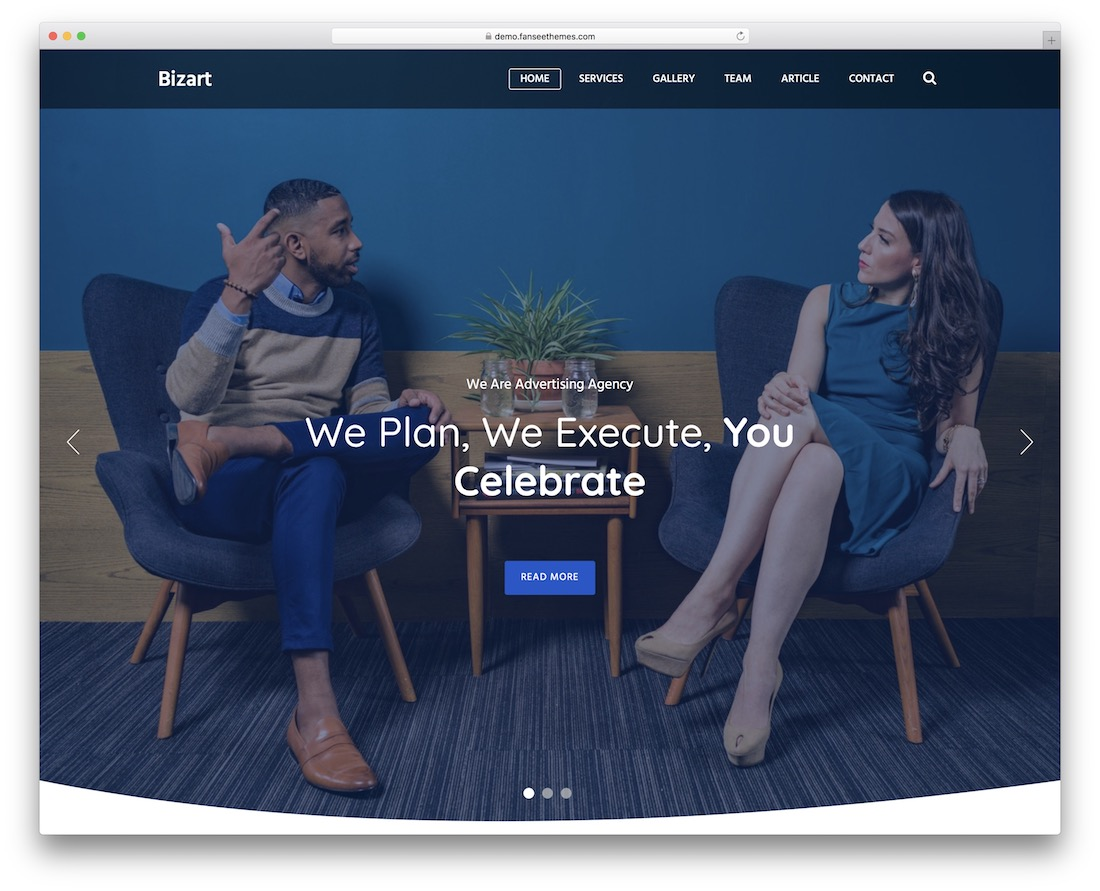 bizart free responsive wordpress theme
