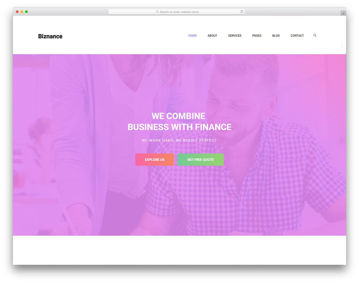 Скачать бесплатно html шаблон Biznance
