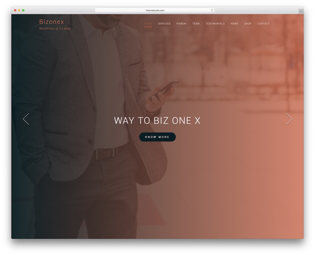 bizonex free one page wordpress theme