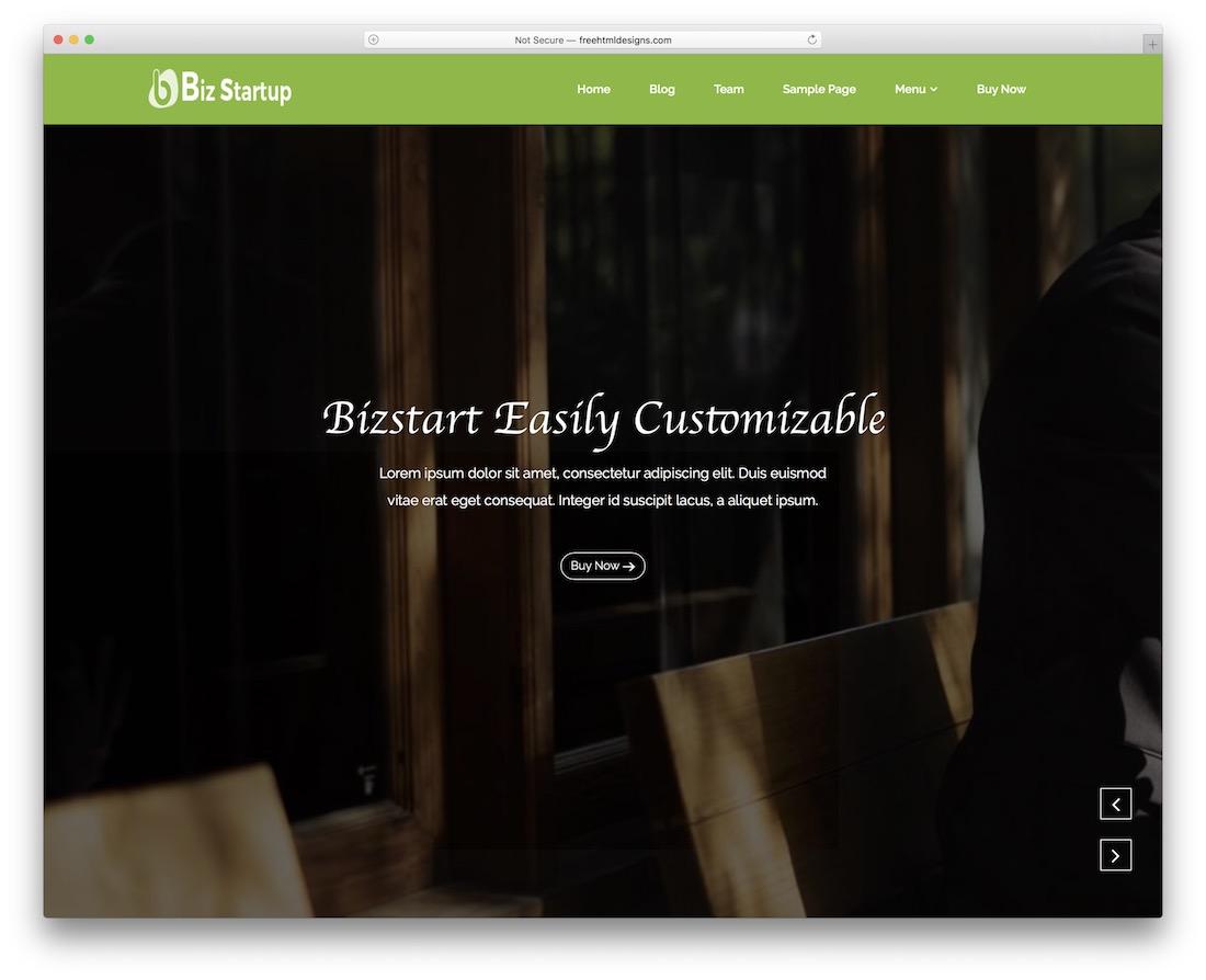 bizstartup free wordpress theme