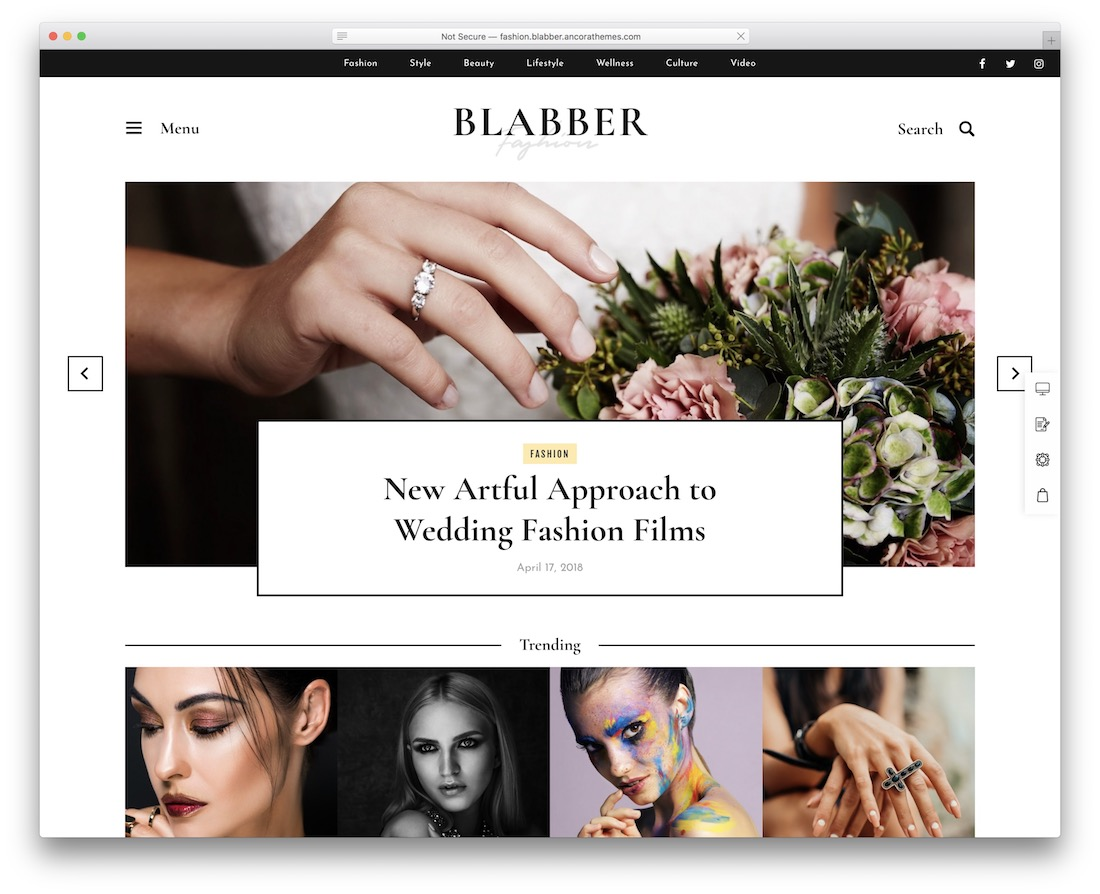 blabber wordpress theme with slider
